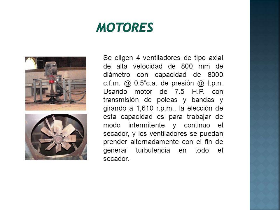 Se eligen 4 ventiladores de tipo axial de alta velocidad de 800 mm de diámetro con capacidad de 8000 c.f.m. @ 0.5c.a. de presión @ t.p.n. Usando motor