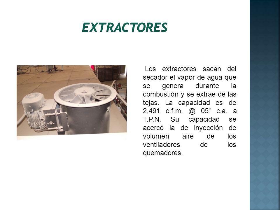 Los extractores sacan del secador el vapor de agua que se genera durante la combustión y se extrae de las tejas. La capacidad es de 2,491 c.f.m. @ 05