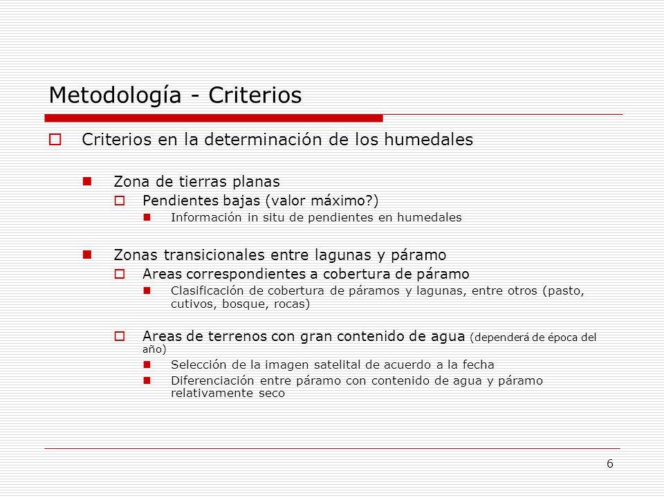 Metodología - Criterios Criterios en la determinación de los humedales Zona de tierras planas Pendientes bajas (valor máximo?) Información in situ de