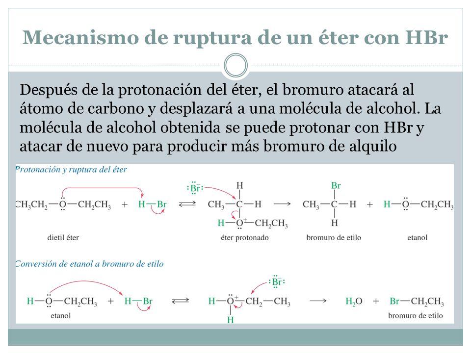 Mecanismo de ruptura de un éter con HBr Después de la protonación del éter, el bromuro atacará al átomo de carbono y desplazará a una molécula de alcohol.