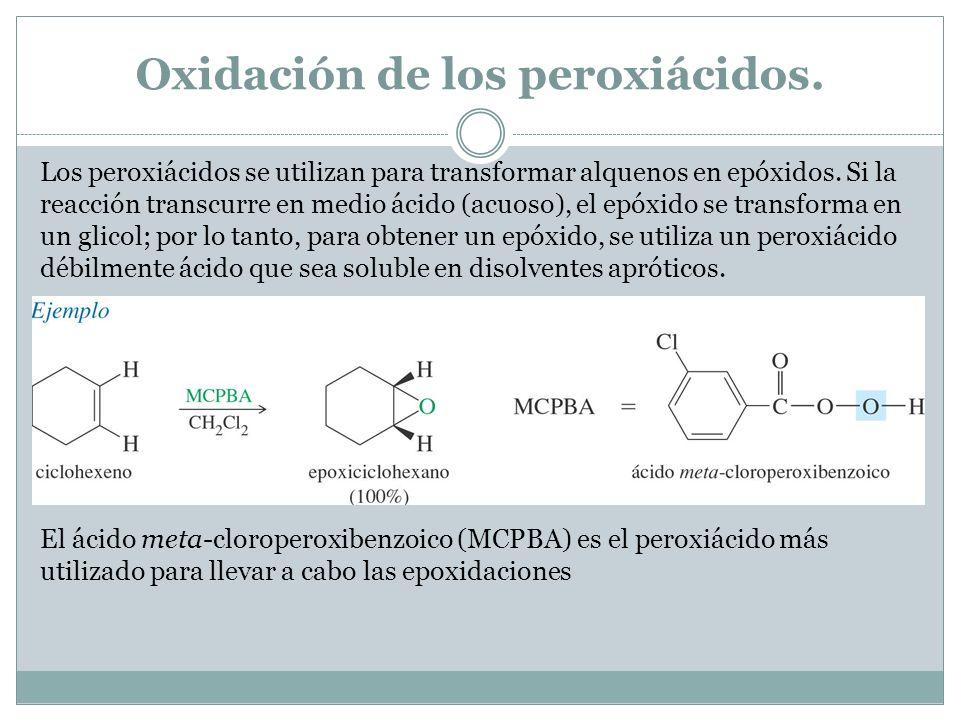 Oxidación de los peroxiácidos. Los peroxiácidos se utilizan para transformar alquenos en epóxidos. Si la reacción transcurre en medio ácido (acuoso),
