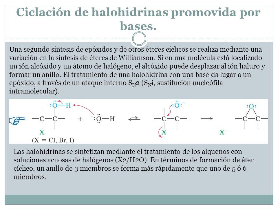 Ciclación de halohidrinas promovida por bases. Una segundo síntesis de epóxidos y de otros éteres cíclicos se realiza mediante una variación en la sín