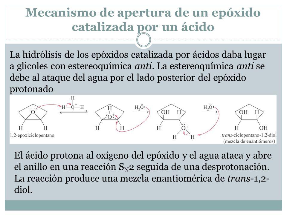Mecanismo de apertura de un epóxido catalizada por un ácido La hidrólisis de los epóxidos catalizada por ácidos daba lugar a glicoles con estereoquímica anti.