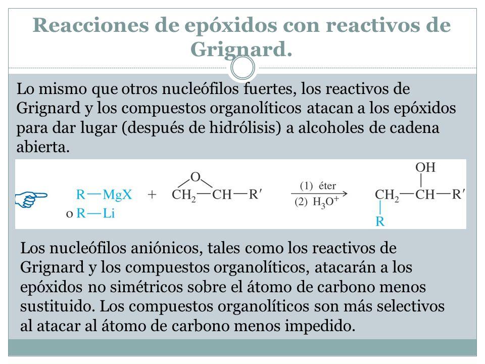 Reacciones de epóxidos con reactivos de Grignard. Lo mismo que otros nucleófilos fuertes, los reactivos de Grignard y los compuestos organolíticos ata