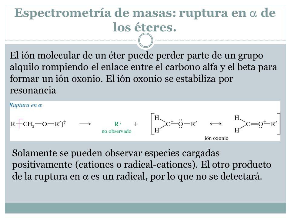 Espectrometría de masas: ruptura en de los éteres. El ión molecular de un éter puede perder parte de un grupo alquilo rompiendo el enlace entre el car