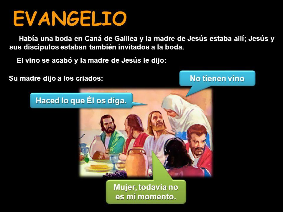 EVANGELIO Su madre dijo a los criados: Había una boda en Caná de Galilea y la madre de Jesús estaba allí; Jesús y sus discípulos estaban también invit