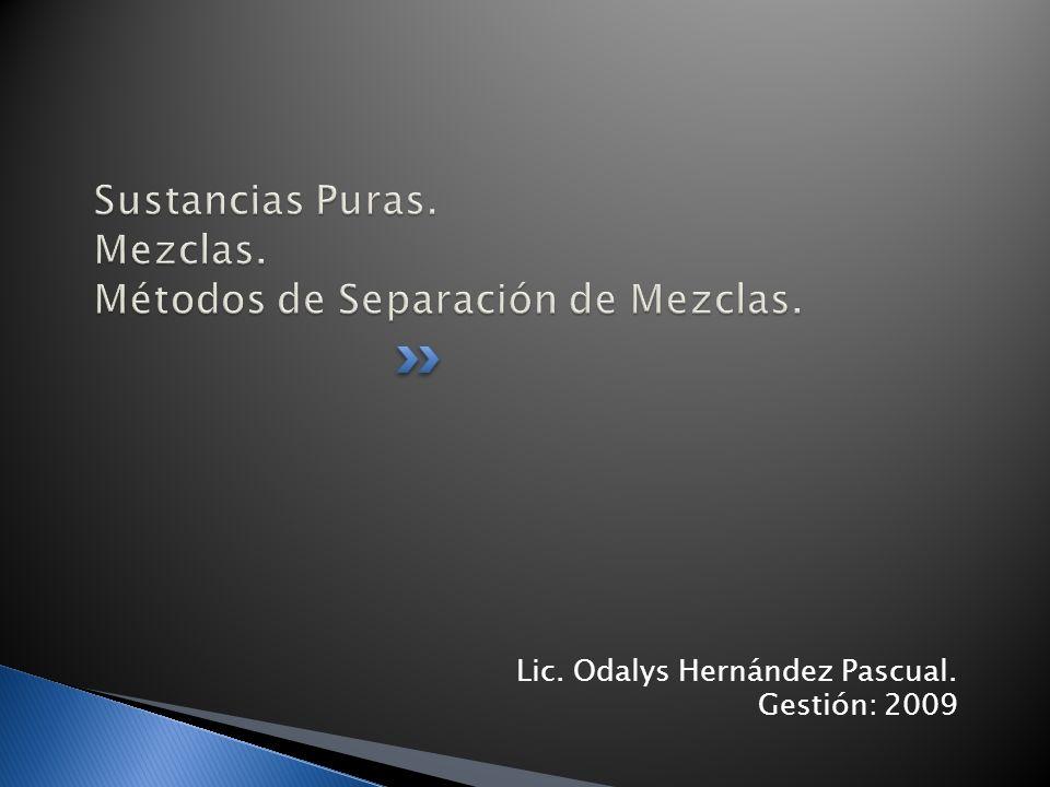 Lic. Odalys Hernández Pascual. Gestión: 2009