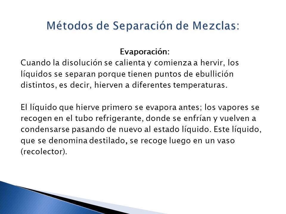 Evaporación: Cuando la disolución se calienta y comienza a hervir, los líquidos se separan porque tienen puntos de ebullición distintos, es decir, hie