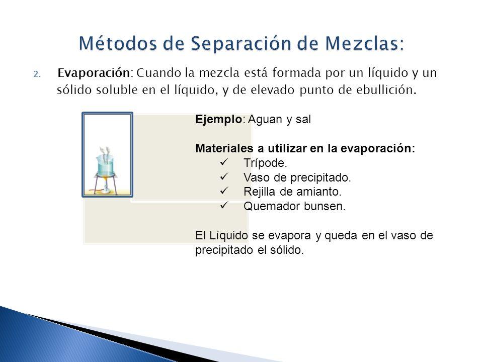 2. Evaporación: Cuando la mezcla está formada por un líquido y un sólido soluble en el líquido, y de elevado punto de ebullición. concentraciónfiltrac