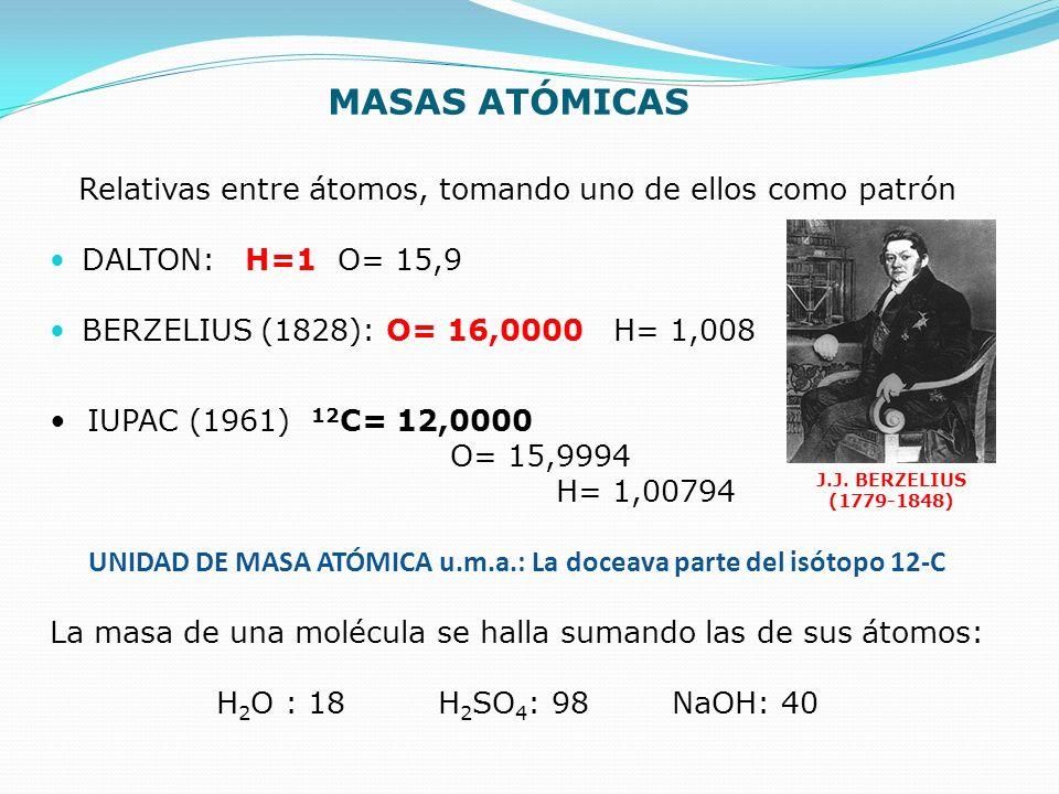 MASAS ATÓMICAS Relativas entre átomos, tomando uno de ellos como patrón DALTON: H=1 O= 15,9 BERZELIUS (1828): O= 16,0000 H= 1,008 J.J. BERZELIUS (1779