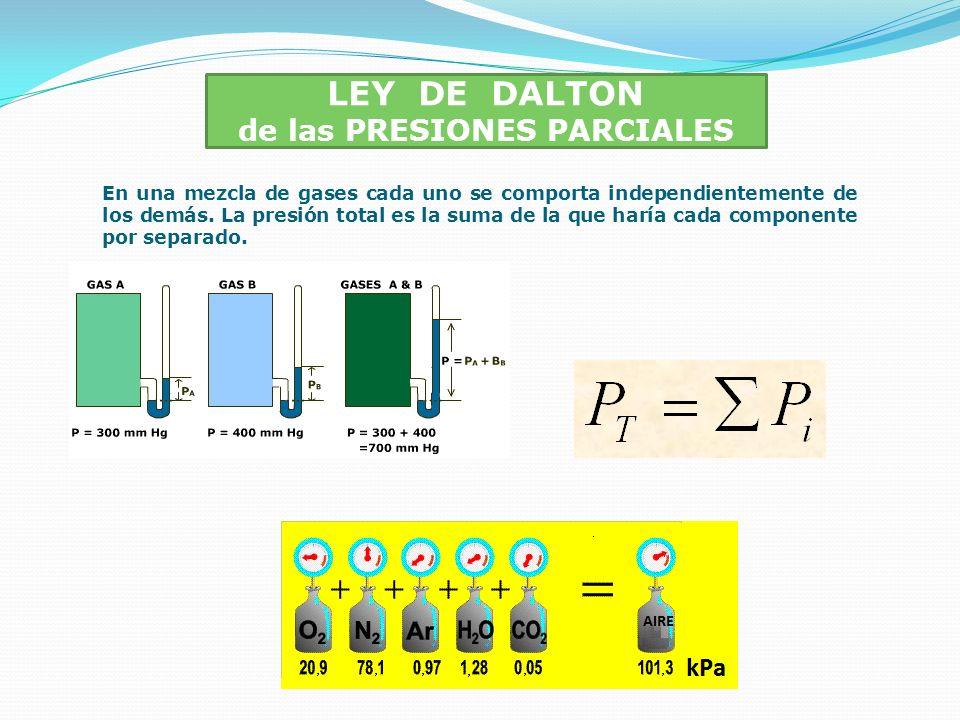 LEY DE DALTON de las PRESIONES PARCIALES En una mezcla de gases cada uno se comporta independientemente de los demás. La presión total es la suma de l
