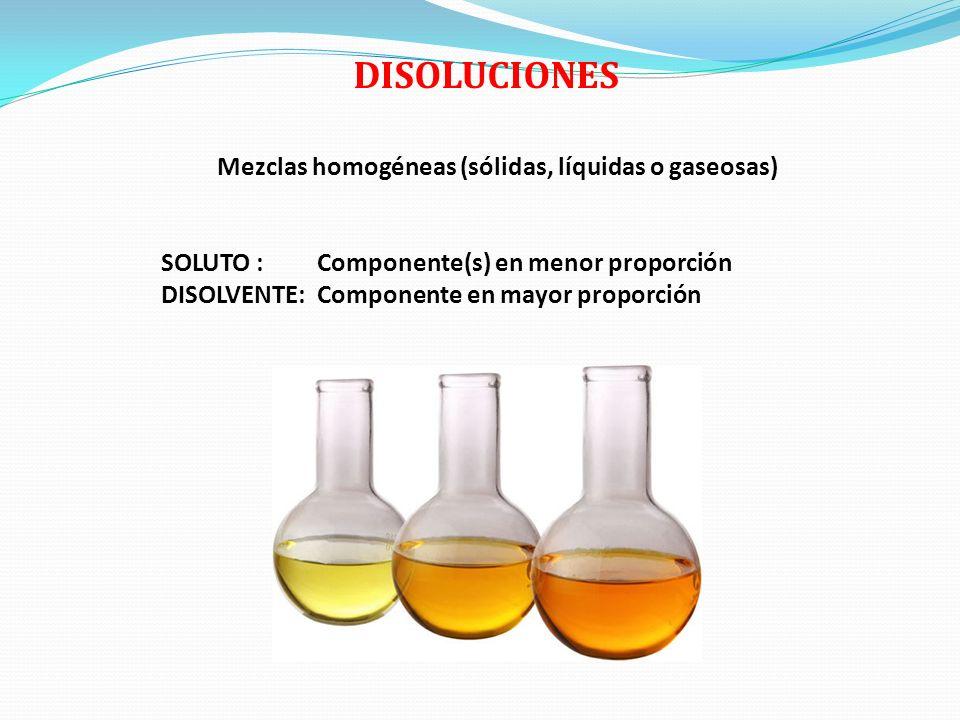 DISOLUCIONES Mezclas homogéneas (sólidas, líquidas o gaseosas) SOLUTO : Componente(s) en menor proporción DISOLVENTE: Componente en mayor proporción