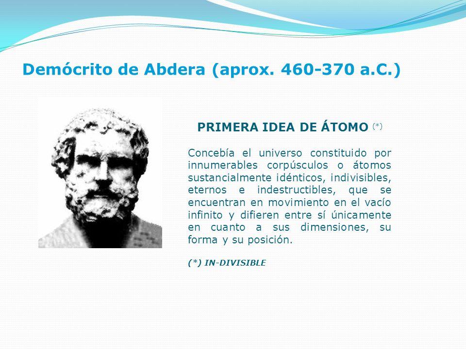 Demócrito de Abdera (aprox. 460-370 a.C.) PRIMERA IDEA DE ÁTOMO (*) Concebía el universo constituido por innumerables corpúsculos o átomos sustancialm
