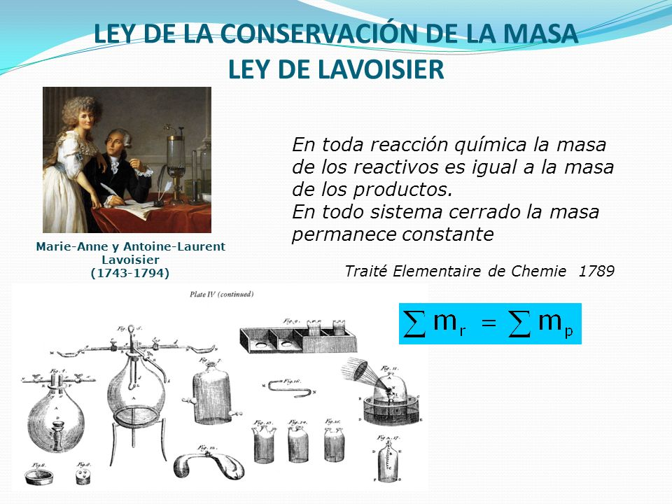 LEY DE LA CONSERVACIÓN DE LA MASA LEY DE LAVOISIER En toda reacción química la masa de los reactivos es igual a la masa de los productos. En todo sist