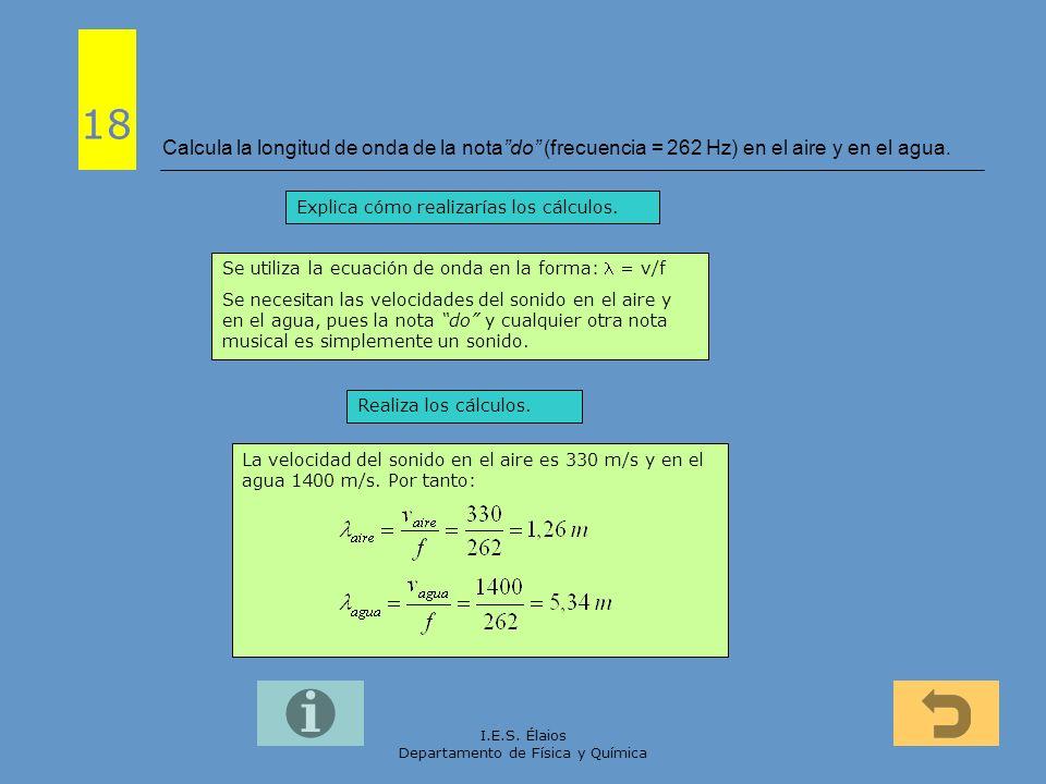I.E.S. Élaios Departamento de Física y Química Calcula la longitud de onda de la notado (frecuencia = 262 Hz) en el aire y en el agua. 18 Explica cómo