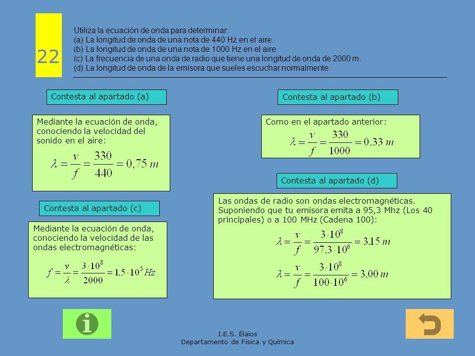 I.E.S. Élaios Departamento de Física y Química Mediante la ecuación de onda, conociendo la velocidad de las ondas electromagnéticas: Mediante la ecuac