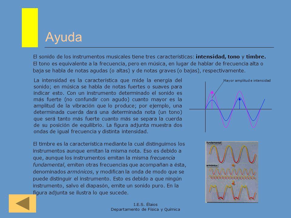 I.E.S. Élaios Departamento de Física y Química Ayuda El sonido de los instrumentos musicales tiene tres características: intensidad, tono y timbre. El