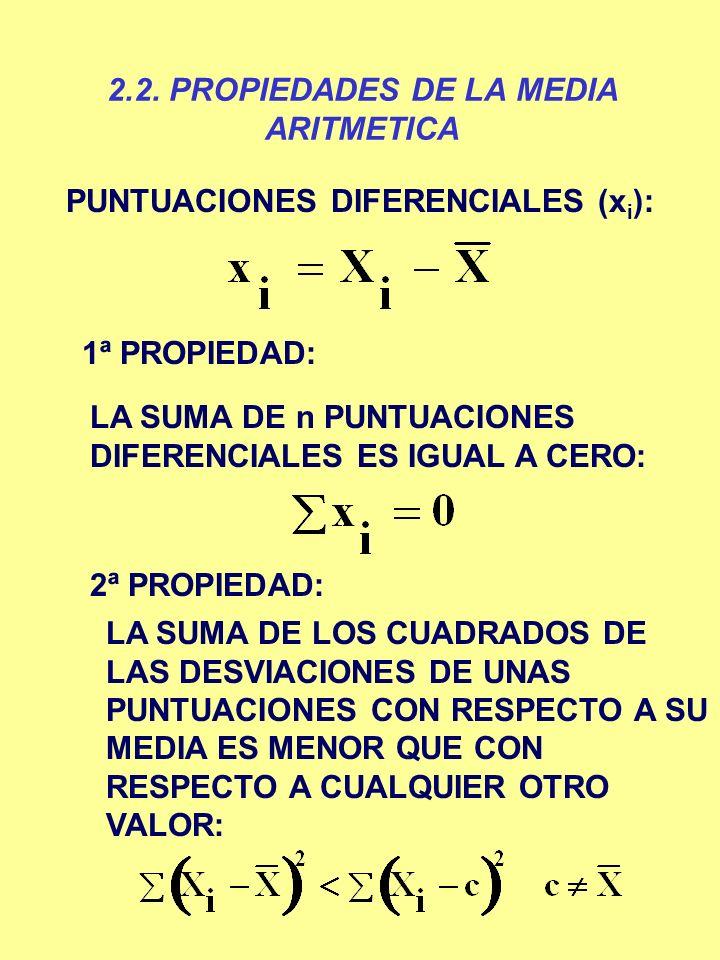 2.2. PROPIEDADES DE LA MEDIA ARITMETICA PUNTUACIONES DIFERENCIALES (x i ): 1ª PROPIEDAD: LA SUMA DE n PUNTUACIONES DIFERENCIALES ES IGUAL A CERO: 2ª P