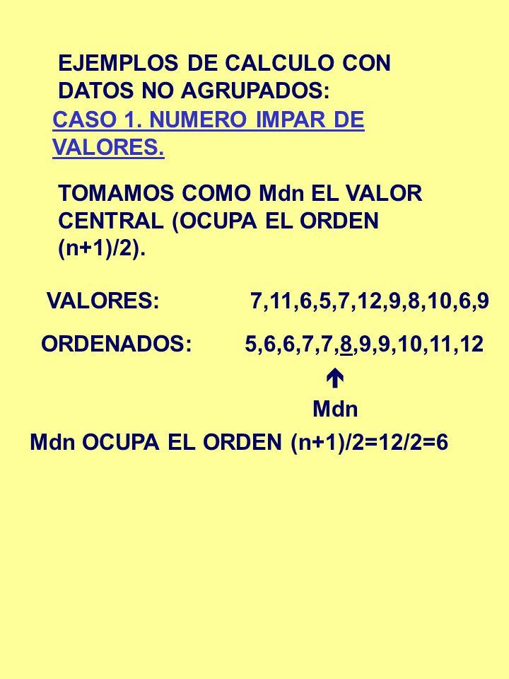 EJEMPLOS DE CALCULO CON DATOS NO AGRUPADOS: CASO 1. NUMERO IMPAR DE VALORES. TOMAMOS COMO Mdn EL VALOR CENTRAL (OCUPA EL ORDEN (n+1)/2). VALORES:7,11,