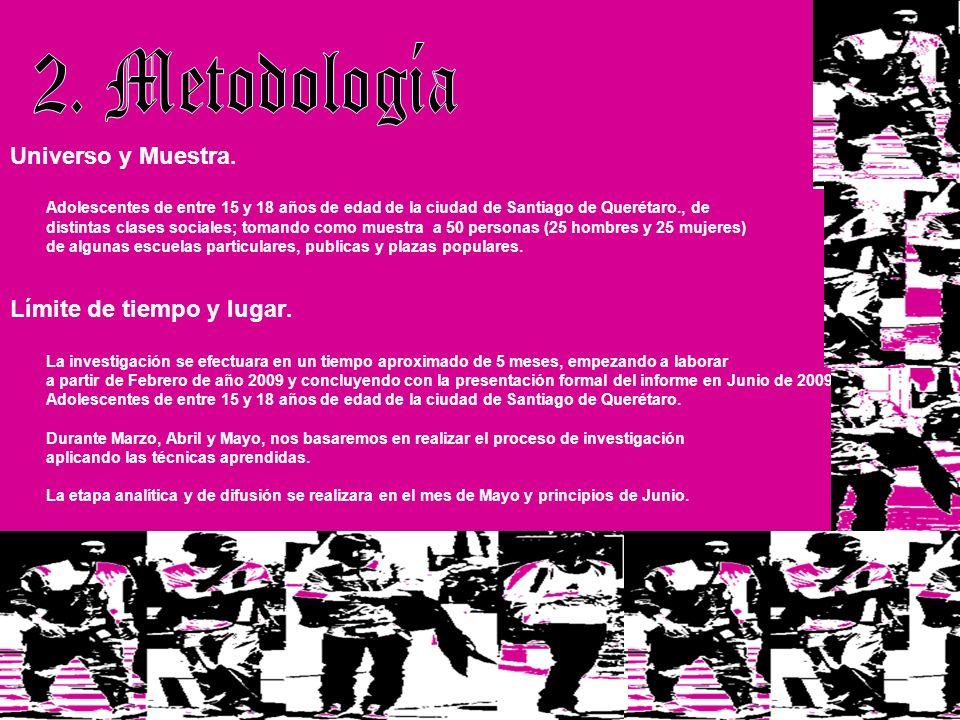 Universo y Muestra. Adolescentes de entre 15 y 18 años de edad de la ciudad de Santiago de Querétaro., de distintas clases sociales; tomando como mues