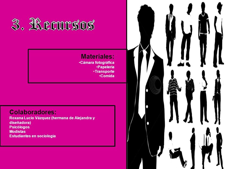 Materiales: Cámara fotográfica Papelería Transporte Comida Colaboradores: Roxana Lucio Vázquez (hermana de Alejandra y diseñadora) Psicólogos Modistas