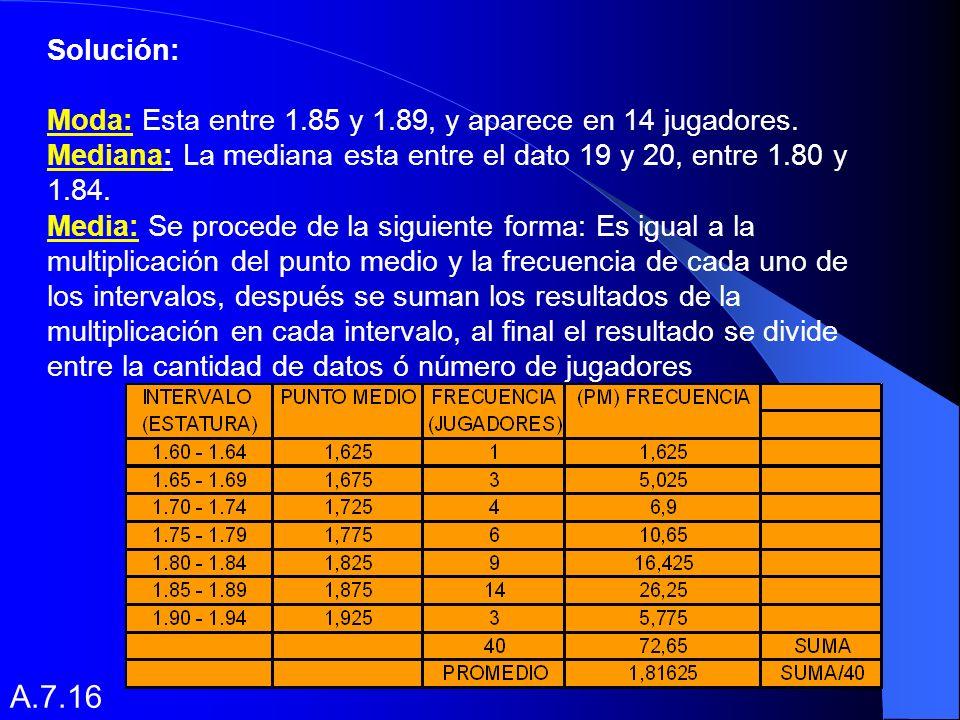 Ejemplo: Determinar a partir de la tabla presentada, la media, mediana y moda: Tabla de frecuencias reportadas por un equipo de baloncesto con respecto a la estatura de los jugadores.