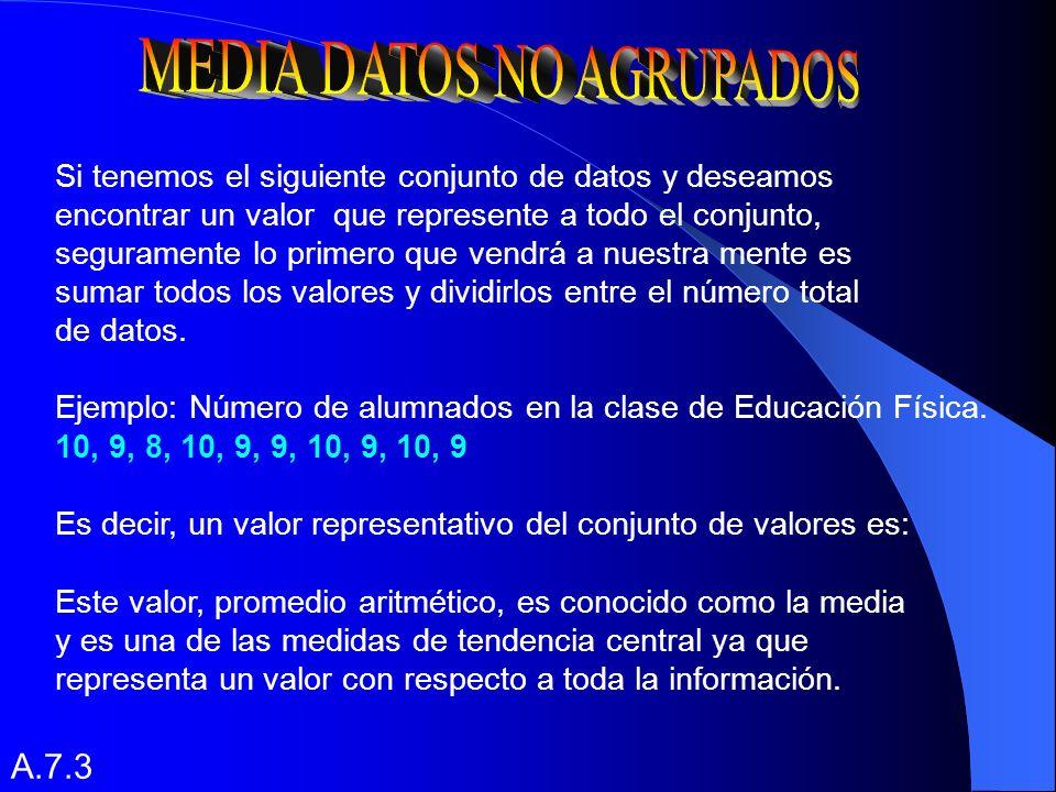 MEDIDAS DE TENDENCIA CENTRAL MEDIA MODA MEDIANA DATOS AGRUPADOS DATOS NO AGRUPADOS PARA DATOS AGRUPADOS PARA DATOS NO AGRUPADOS PARA DATOS AGRUPADOS PARA DATOS NO AGRUPADOS A.7.2