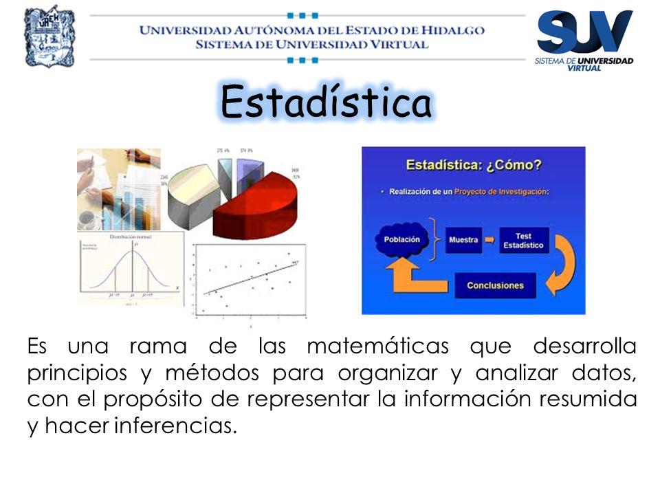 Es una rama de las matemáticas que desarrolla principios y métodos para organizar y analizar datos, con el propósito de representar la información res