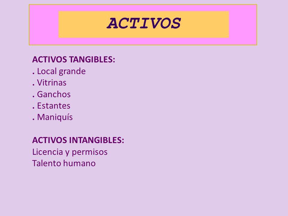 ACTIVOS ACTIVOS TANGIBLES:. Local grande. Vitrinas. Ganchos. Estantes. Maniquís ACTIVOS INTANGIBLES: Licencia y permisos Talento humano