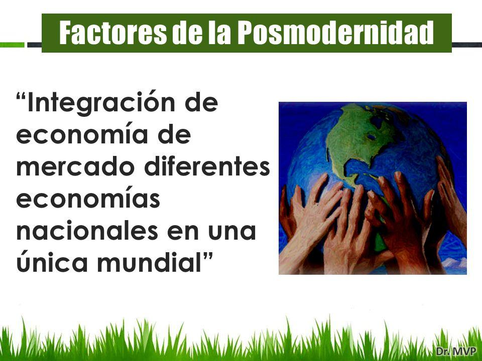Integración de economía de mercado diferentes economías nacionales en una única mundial Factores de la Posmodernidad