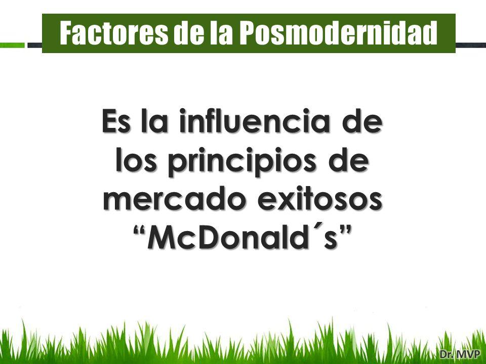 Es la influencia de los principios de mercado exitosos McDonald´s Factores de la Posmodernidad