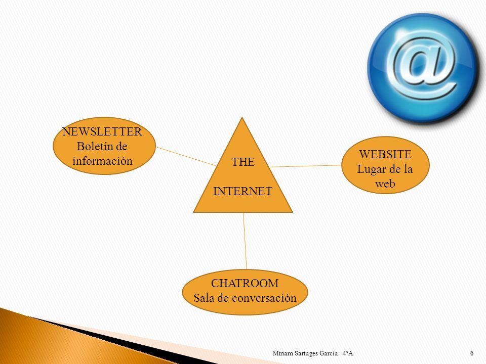 6 THE INTERNET CHATROOM Sala de conversación NEWSLETTER Boletín de información WEBSITE Lugar de la web Miriam Sartages García. 4ºA