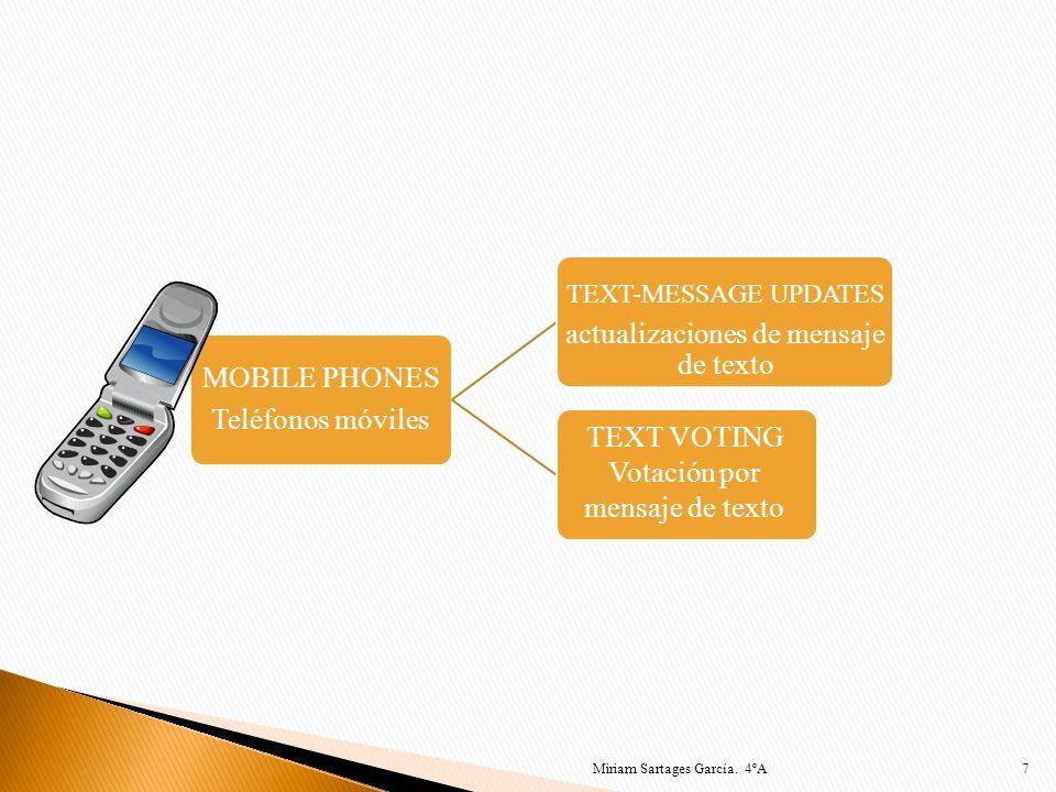 7 MOBILE PHONES Teléfonos móviles TEXT-MESSAGE UPDATES actualizaciones de mensaje de texto TEXT VOTING Votación por mensaje de texto Miriam Sartages G