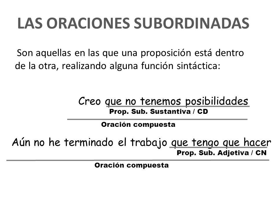 LAS ORACIONES SUBORDINADAS Son aquellas en las que una proposición está dentro de la otra, realizando alguna función sintáctica: Creo que no tenemos p