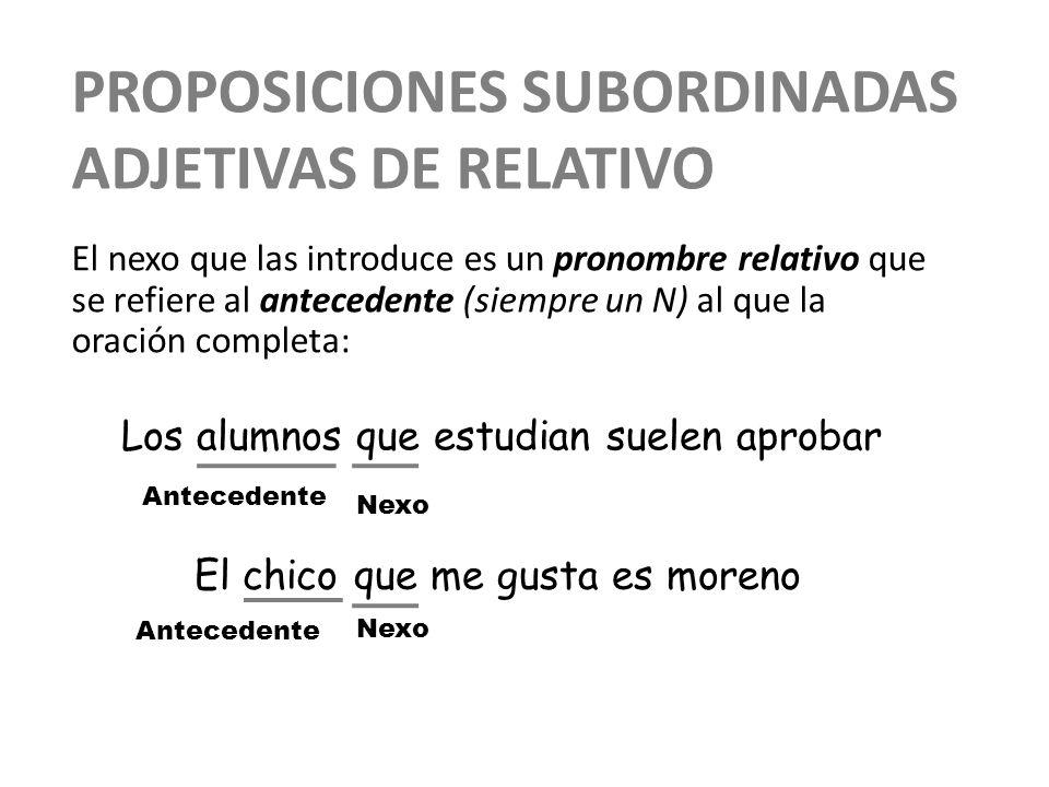 PROPOSICIONES SUBORDINADAS ADJETIVAS DE RELATIVO Este nexo realiza una determinada función sintáctica en la proposición subordinada adjetiva: la misma que realizaría el sustantivo al que sustituye.