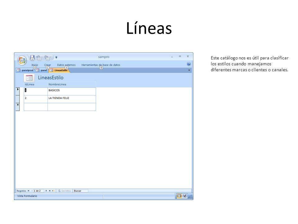 Líneas Este catálogo nos es útil para clasificar los estilos cuando manejamos diferentes marcas o clientes o canales.