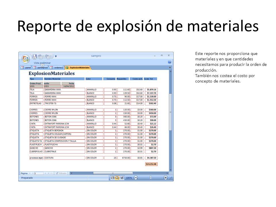 Reporte de explosión de materiales Este reporte nos proporciona que materiales y en que cantidades necesitamos para producir la orden de producción. T