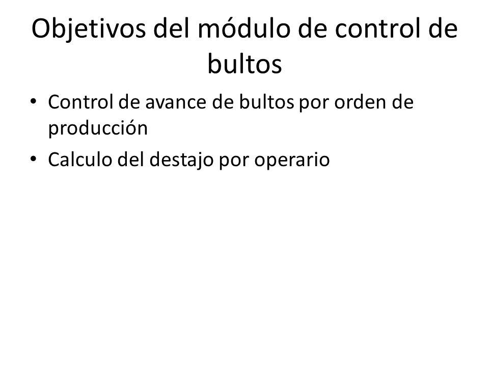 Objetivos del módulo de control de bultos Control de avance de bultos por orden de producción Calculo del destajo por operario