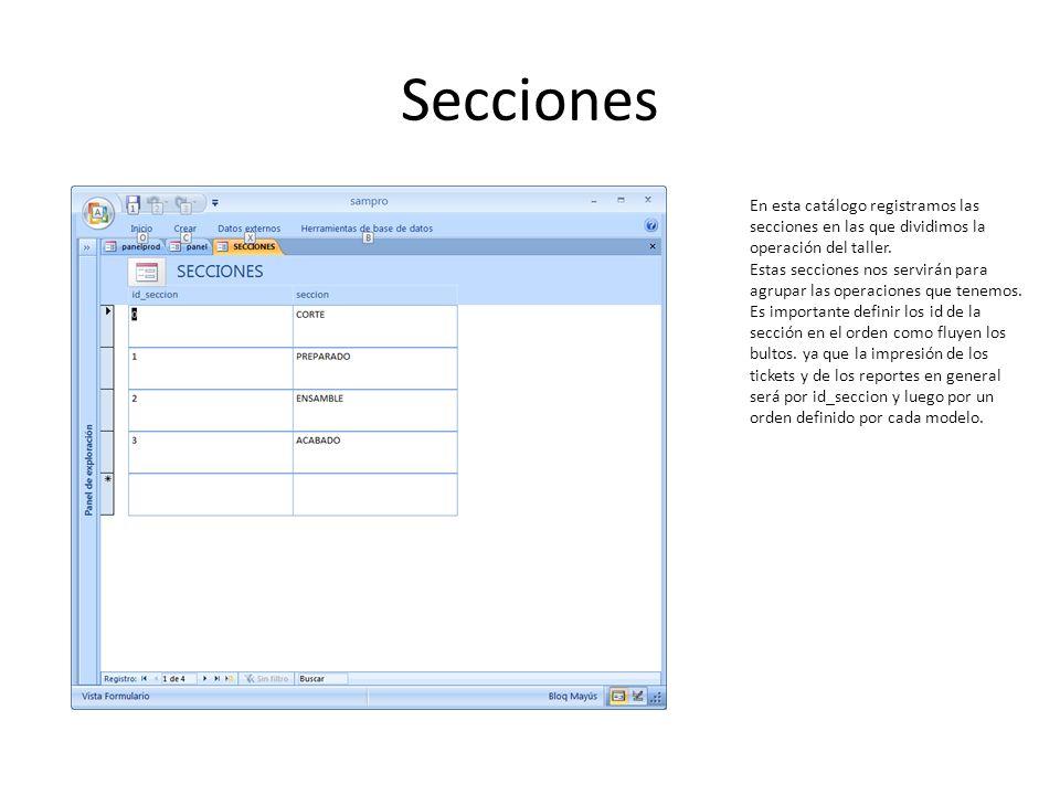 Secciones En esta catálogo registramos las secciones en las que dividimos la operación del taller. Estas secciones nos servirán para agrupar las opera