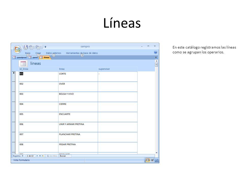 Líneas En este catálogo registramos las líneas como se agrupan los operarios.
