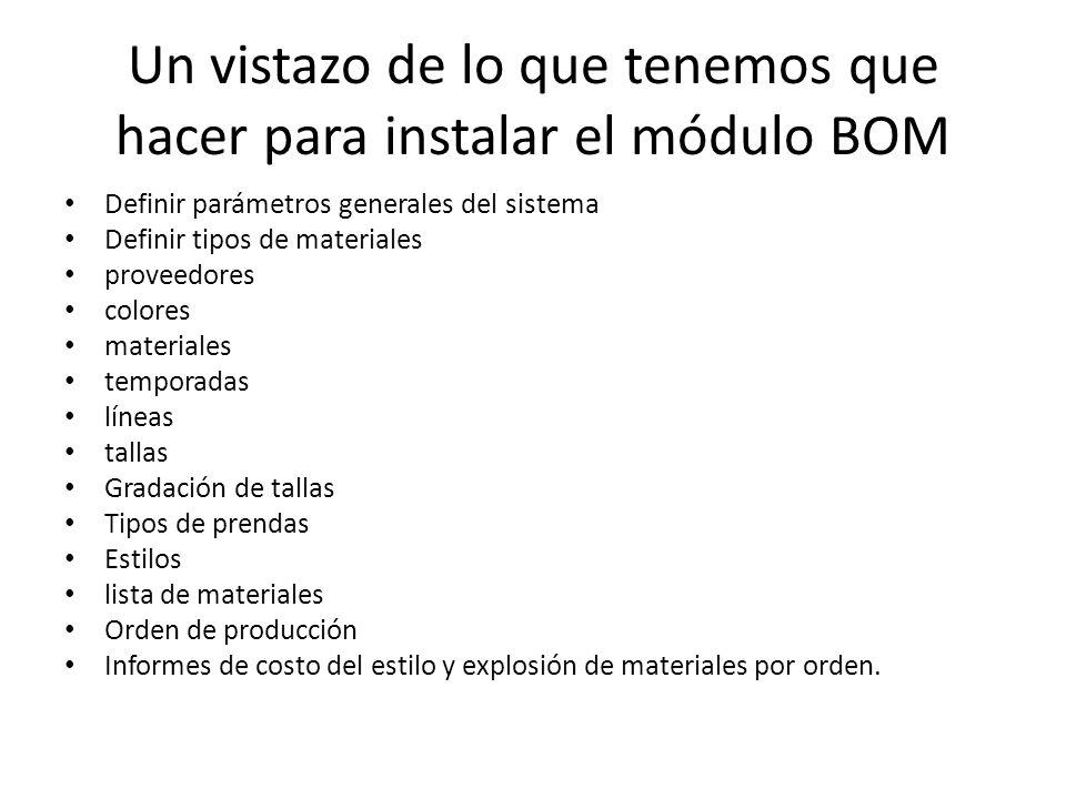 Un vistazo de lo que tenemos que hacer para instalar el módulo BOM Definir parámetros generales del sistema Definir tipos de materiales proveedores co