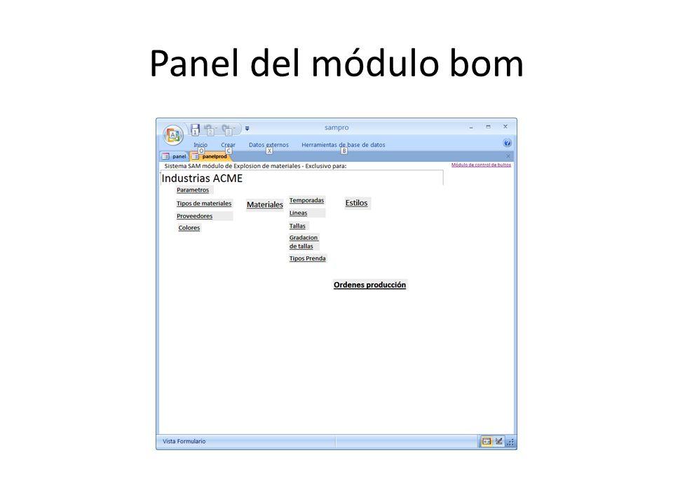 Panel del módulo bom