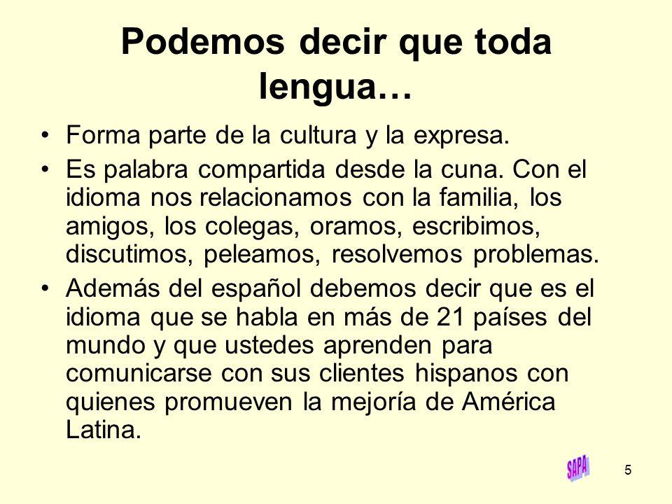6 Recordemos que el español es una lengua que se habla en cuatro continentes