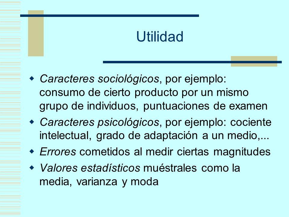 Utilidad Caracteres sociológicos, por ejemplo: consumo de cierto producto por un mismo grupo de individuos, puntuaciones de examen Caracteres psicológicos, por ejemplo: cociente intelectual, grado de adaptación a un medio,...