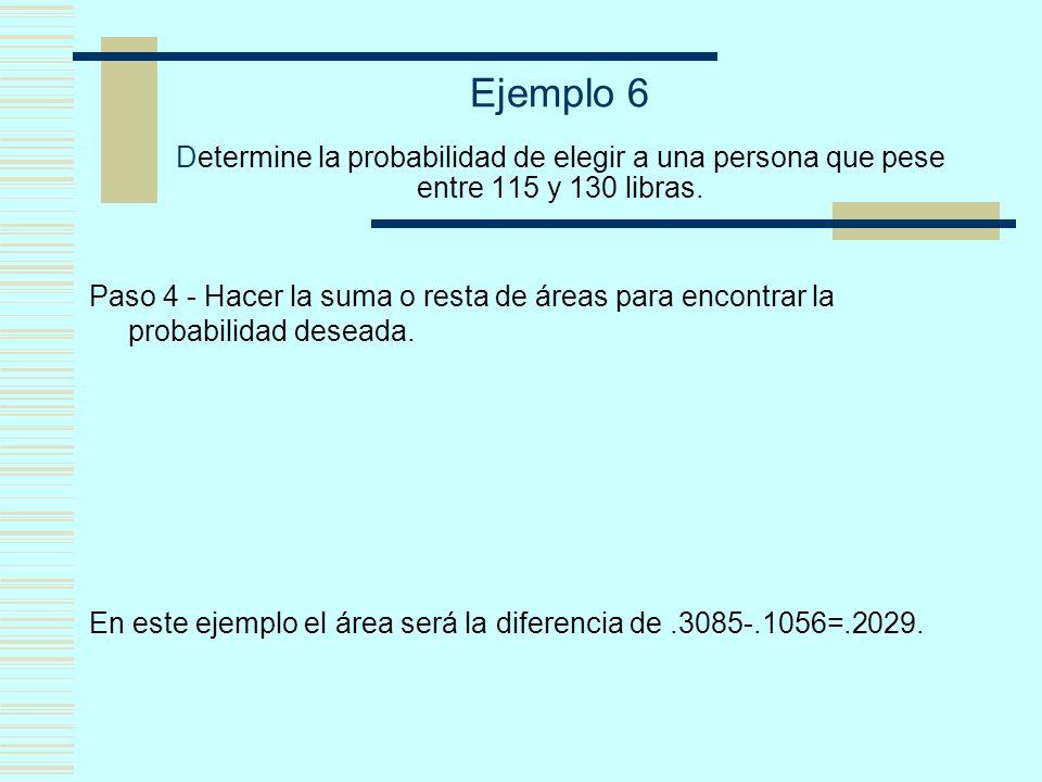 Ejemplo 6 Determine la probabilidad de elegir a una persona que pese entre 115 y 130 libras.