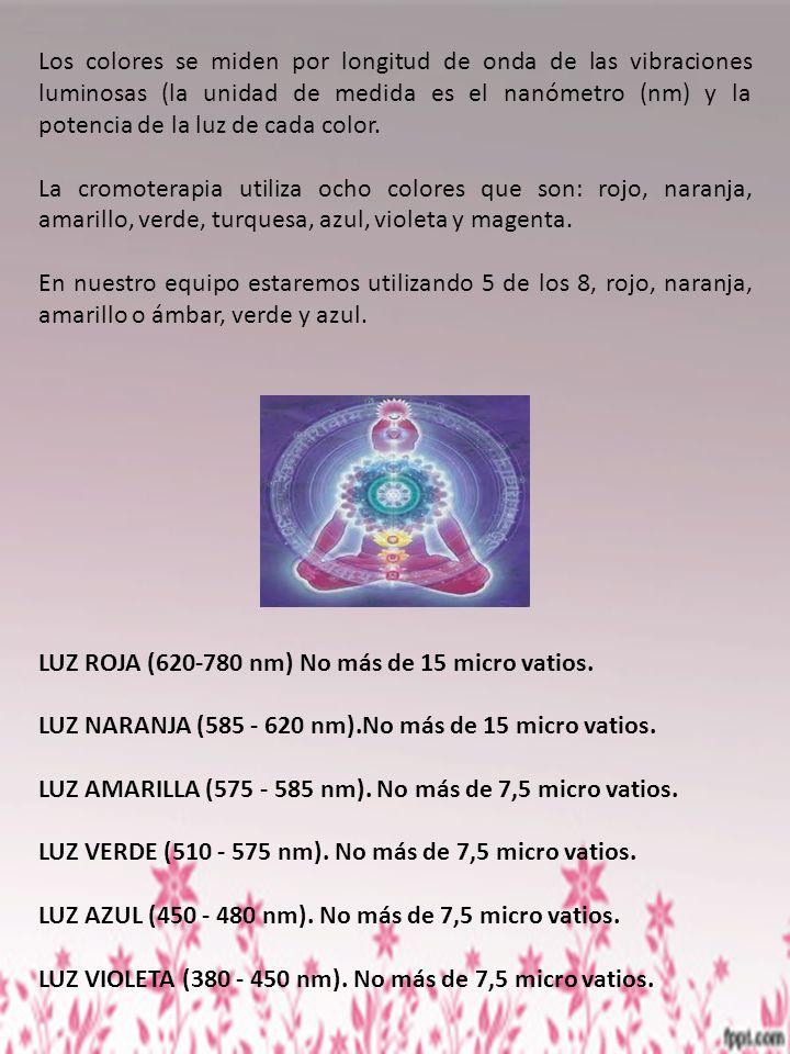 Los colores se miden por longitud de onda de las vibraciones luminosas (la unidad de medida es el nanómetro (nm) y la potencia de la luz de cada color