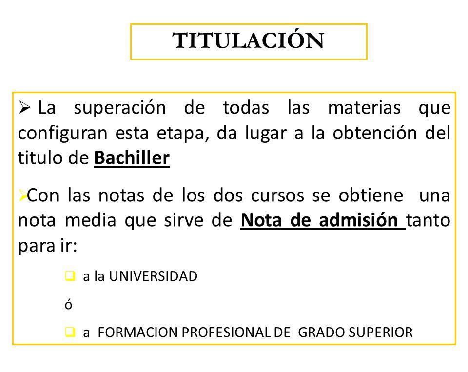 La superación de todas las materias que configuran esta etapa, da lugar a la obtención del titulo de Bachiller Con las notas de los dos cursos se obti