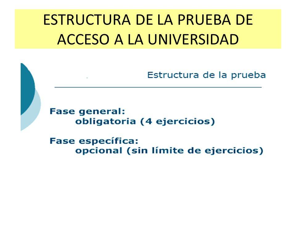 ESTRUCTURA DE LA PRUEBA DE ACCESO A LA UNIVERSIDAD