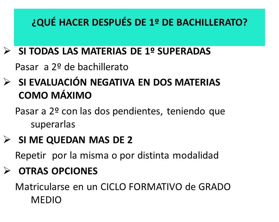 La superación de todas las materias que configuran esta etapa, da lugar a la obtención del titulo de Bachiller Con las notas de los dos cursos se obtiene una nota media que sirve de Nota de admisión tanto para ir: a la UNIVERSIDAD ó a FORMACION PROFESIONAL DE GRADO SUPERIOR TITULACIÓN