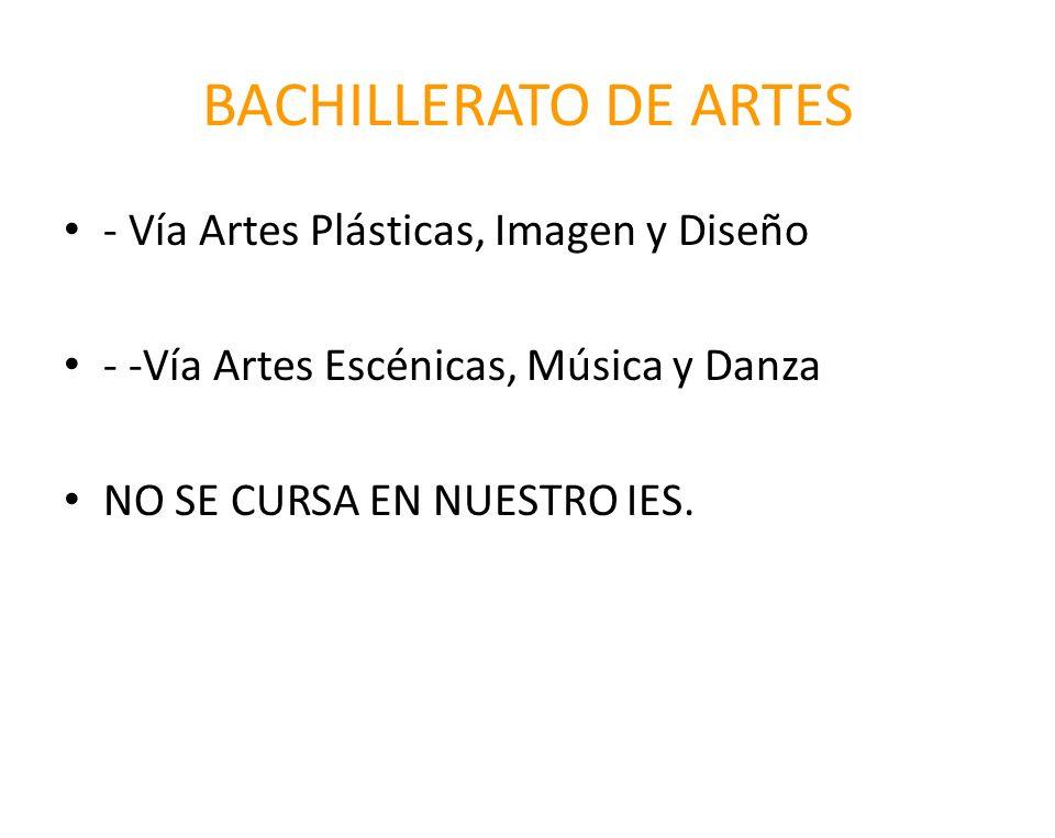 BACHILLERATO DE ARTES - Vía Artes Plásticas, Imagen y Diseño - -Vía Artes Escénicas, Música y Danza NO SE CURSA EN NUESTRO IES.